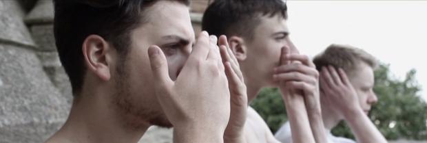 Elliot Winter, Guy Remmers , Sam Bailey film the trailer for Wild Men