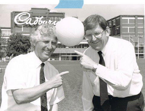Brian Davies (Left) and Dave Noble pictured at the Cadbury Factory in Keynsham on July 30th 1996 exactly 30 years to the day that England Won the World Cup.
