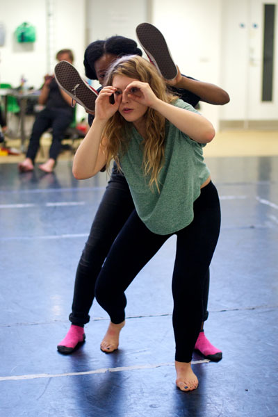 Members of the Young Company devising movement for Wodwo