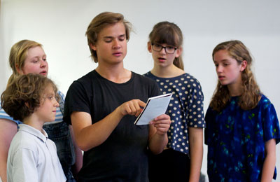 Alistair in rehearsals for Wodwo with members of the Young Company. Photo by Kitty Wheeler-Shaw