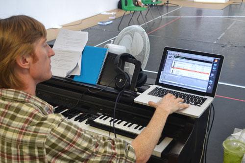 Kieran in rehearsal for Wodwo