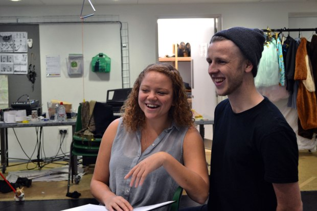 Miranda Cromwell and James in rehearsal for The Magic Elves. Photo by Duncan Smith.