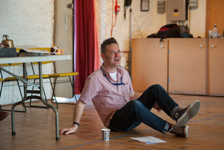 Toby Hulse in the War Game rehearsal room. Photography by Chris Cooper.