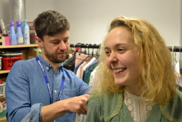 Max Johns fitting Kate Alhadeff for her role as Elsie Wright. Photos by Duncan Smith.