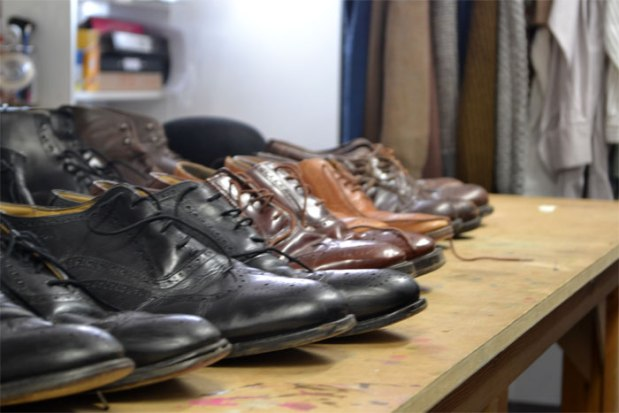 A busy shoe selection during fittings for The Light Burns Blue. Photos by Duncan Smith.