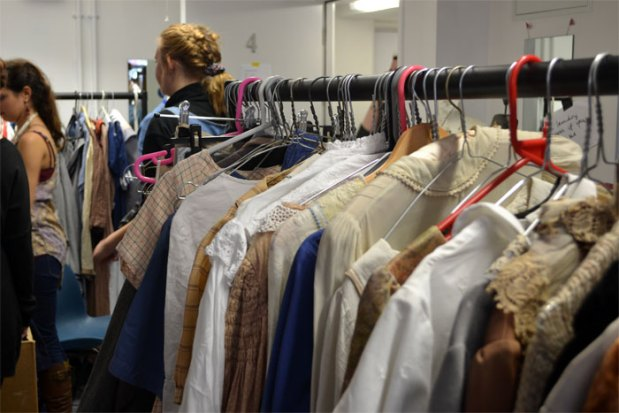 The wardrobe team prepare costumes for fittings. Photos by Duncan Smith.
