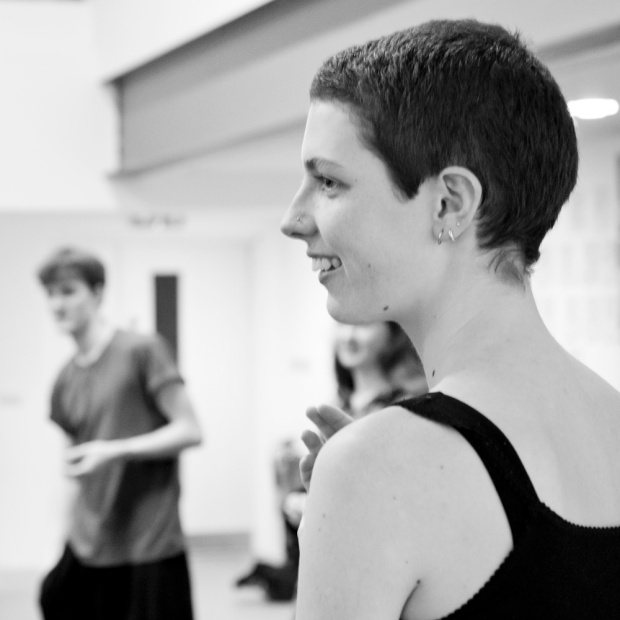 Jess in rehearsal for The Light Burns Blue. Photo by Justine Frost.