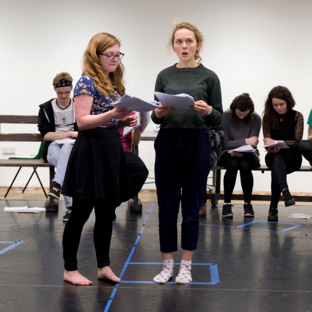 Jenny (left) in rehearsal for The Light Burns Blue. Photo by Justine Frost