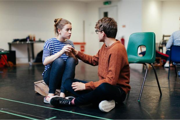 Amy and Toby in rehearsals for Life Raft.