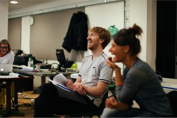 Fionn and Zara in rehearsals for Life Raft