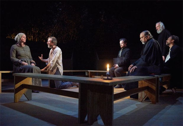 Dom Allen (centre right) in The Crucible. Photo by Geraint Lewis