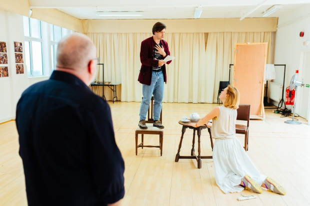 The Rivals - Dominic Hill (Director) with Rhys Rusbatch (Captain Jack Absolute) and Lucy Briggs-Owen (Lydia Languish) in rehearsal - Photo by Jack Offord - 6470.jpg